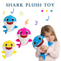 Wholesale big stuffed animals for sale - Soft Dolls Baby Cartoon Shark Toys With Music Cute stuffed animals Plush Baby Toy Shark Dolls Singing English Song For Gift kids toys