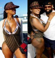 mulheres negras swimwear venda por atacado-Luxo F Carta Swimsuit Designer Bikini Mulheres S Bikini Swimwear 2019 Sexy Vestido Maiô Bodysuit Verão One Piece Senhora Preto Marrom