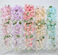 sakura zauberstab großhandel-Sakura Hängen Vine Kirsch Rattan Hochzeit Bogen-Dekoration-Ausgangspartei-Garten-Kirsche hängende Kranz 148cm Kirsche Vine