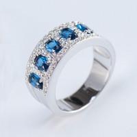 anéis de pedra zircão para homens venda por atacado-Requintado Blue Stone Anéis de Dedo para As Mulheres Homens Elegantes Zircon Mid Anel 6 7 8 9 10 Jóias Finas 2019 Novo YMR467