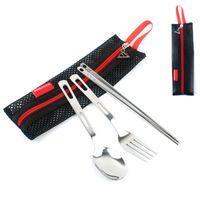 ingrosso le bacchette di campeggio-Set di posate in acciaio inossidabile Cucchiai forchette e bacchette Vestiti per posate per bambini Kit per stoviglie da cucina da campo con borsa a rete nera ZZA944