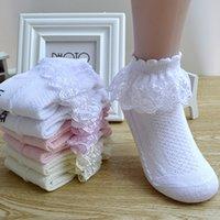 calcetines de encaje de color rosa al por mayor-Ruffle princesa transpirable de algodón del acoplamiento del cordón calcetines de los niños del tobillo del calcetín corto amarillo rosado blanco de los bebés, niños, niño