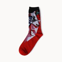 Wholesale abstract paintings black red resale online - 1 Pair Retro Design Cotton Socks Men and Women Art Abstract Oil Painting Series Unisex Oil Picture Printed