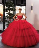vestidos de cumpleaños para tallas grandes al por mayor-Vestidos de quinceañera Vestido de fiesta Rojo 2020 Nuevo Tul sin tirantes Dulce 16 Vestidos Vestidos Fiesta de cumpleaños Plisados Más tamaño Vestidos De 15