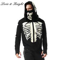 cremallera esqueleto al por mayor-Sudadera con capucha negra con cremallera para hombre Skeleton Skull Mask Gothic Hoodie