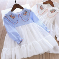 Wholesale baby western clothing online - Cute Baby Girls Striped Embroidery Tutu Patchwork Dress Party Holiday Western Blue White Color Spring Summer Fashion Clothes