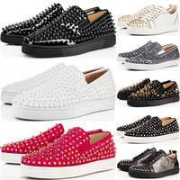 neue spikes großhandel-2019 New Designer Studded Spikes Wohnungen Schuhe Red Bottoms Schuhe Mens Womens Party Lovers Echtes Leder Turnschuhe Größe 36-46