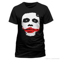 palhaço do batman camiseta venda por atacado-Batman Heath Ledger Joker Rosto O Cavaleiro Das Trevas Autorisé T-shirt Hommes