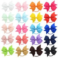 arcos de goma al por mayor-Baby Ponytail Holder Elastic Rubber Band Bow Girls Hair Rope Bows hairbands Niños Grosgrain Ribbon Kids Hair Accessorie 20 colores M187