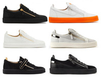 Wholesale matching sneakers men women resale online - Italy Luxury Low Top Color Matching White Zipper Men Women Flat Shoes Genuine Leather Mens Shoes Designer Sneakers