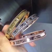 brazaletes de oro blanco para las mujeres al por mayor-Famosa Perlée Signature s925 Plata de ley con logotipo Script Rosa blanca, oro amarillo, brazalete para las mujeres Joyería