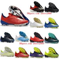 chaussures de foot en plein air achat en gros de-2018 chaussures de soccer pour hommes x 18 fg, chaussures de football, bottes de football extérieures, scarpe da calcio, haute qualité blackout