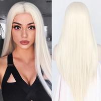 lange seidig blonde haare großhandel-Günstige seidige gerade Top-Qualität weiß 60 # synthetische Lace Front Perücke hitzebeständige lange Haare hellblond 0809 # für schwarze Frauen Cosplay Perücke