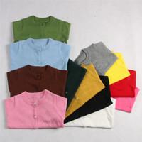 cardigan color diseño chicas al por mayor-21 colores Nuevo diseño niña suéter primavera otoño niños de punto cardigan suéter niños primavera desgaste de buena calidad E1238