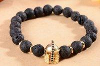 pulseiras de ouro buda venda por atacado-8mm xgh34432 prata ouro cobre coroa micro pave cz zircon zircônia cúbica pulseira preta lava vulcânica pedra buda yoga pulseiras