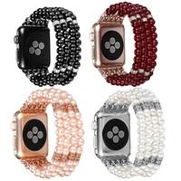 pérolas relógios mulheres venda por atacado-Correias para Apple Watch Banda Moda Handmade Frisado Elastic Stretch Faux Pearl Pulseira Mulheres watchband para iWatch Series 4/3/2/1