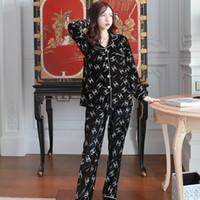 ingrosso vestiti coreani per le donne-Autunno e inverno pigiama delle donne primavera coreana di velluto oro sciolto cardigan a maniche lunghe moda sciolto può essere indossato fuori servizio casa vestito grande wi