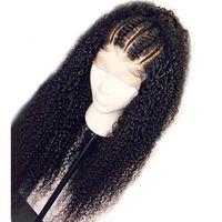perucas mongol kinky venda por atacado-Cabelo Encaracolado Kinky mongol 360 Cheia Do Laço Perucas de Cabelo Humano Kinky Curly Peruca Dianteira Do Laço Pré Arrancadas 360 Perucas de Cabelo Humano de Renda Frontal