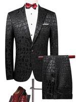 traje de pantalón de una pieza al por mayor-Ropa casual de negocios de los hombres Moda Padrino de boda delgado Traje de tres piezas Blazer Se adapta a la chaqueta Pantalones Pantalones Conjuntos de un botón Phyton