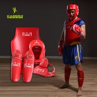 kutu süitleri toptan satış-4 adet rekabet MMA Guard suite tam set kickboks koruyucular koruyucu mücadele Muay thai göğüs shin kasık guard boks Kask erkek # 200221