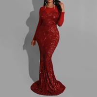 seksi kırmızı akşam yemeği elbisesi toptan satış-Kırmızı Sequins Akşam Denizkızı Uzun Elbise Kadınlar Şık Sıkı Seksi Şeffaf Mesh Uzun Kollu Afrika Lady Dinner Club Parti Elbise Maxi