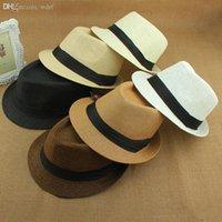mann strohhut verkauf großhandel-Wholesale-Hot Sale Sommer Hut Frauen 2015 Strand Stroh Panama Sonnenhüte für Männer, Trendy Unisex Fedora Trilby Gangster Cap Jazz Hats