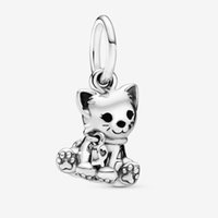 perlas de gato gatito al por mayor-Kitty-Cat Dangle Charms Nueva plata esterlina 925 Cuentas sólidas Rose Fit para Pandora Pulsera original del encanto de las mujeres DIY Jewelry