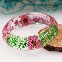 pulsera de flores secas al por mayor-Precio de fábrica suministra directamente la calidad superior brazalete, Eco Friendly secada verdadera de la pulsera de flor de la resina