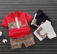 vestuário marca coreano frete grátis venda por atacado-Novos conjuntos de roupas infantis Bebê Meninos E Meninas camisetas shorts conjuntos Bebê crianças crianças roupas de grife meninos tops calça terno