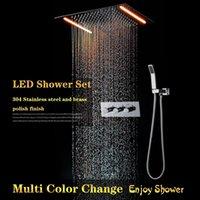 sistemas de lluvia al por mayor-Sistema de ducha 360 * 500 mm Chrome Rain Baño Grifo Conjunto de mezclador de agua caliente y fría Válvula de ducha de baño Conjunto de cabezal de ducha