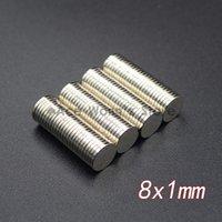 ingrosso magnete super potente n35-10 pz Magneti per dischi al neodimio 8x1 mm N35 Super Strong Potente Terra Rara 8mm x 1mm Magnete rotondo piccolo