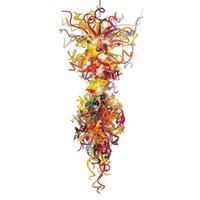 современные цветные хрустальные люстры оптовых-Современная Красочная Рука выдувной муранского стекло Кристалл искусство Люстра Свет Большой Кристалл висячей светодиодные подвесные светильники