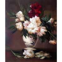 pintura peonies aceite al por mayor-Flor arte pintura Edouard Manet Peonies en un florero Óleo sobre lienzo pintado a mano