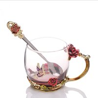 neuheit löffel großhandel-Schönheit und Neuheit Emaille Kaffeetasse Becher Blume Glas Tassen für heiße und kalte Getränke Tasse Löffel Set perfekte Hochzeitsgeschenk