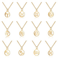 ingrosso collana di acciaio zodiaco-Collana con ciondolo con segno zodiacale per collana con ciondolo da donna, collana con moneta in acciaio inossidabile con zodiaco e gioielli da donna