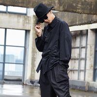 Wholesale hip hop men dress design resale online - Men Black White Shirt Male Women Japan Streetwear Drawstring Design Loose Casual Hip Hop Gothic Party Dress Shirt Stage Costumes