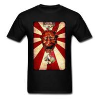 черная маска оптовых-Смешная Япония Hannya Mask Print Мужчины Черная Красная футболка с коротким рукавом Хэллоуин Новинка Мультфильм Monster Demon T Shirt