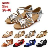 sandalias de gladiador de tacón medio al por mayor-BJYL sandalias de tacón alto zapatillas de raso Zapatillas de baile latino medio bajo con suelas suaves zapatos mujer gladiador sandalias sho