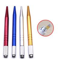 nakış kalemi kaşları toptan satış-100 Adet Gümüş Alüminyum alaşım profesyonel kalıcı makyaj kalem 3D nakış makyaj manuel kalem dövme kaş microblade 4 renkler