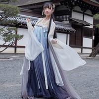 altes weißes kleid großhandel-Hanfu Frauen Fairy Dress Weiß Blau verlaufend Fantasia Feminina Alte chinesische Kostüm-Frauen Erwachsener Folk Festival Outfit BL1972