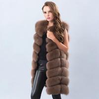 grauer fuchspelz warm großhandel-Echte echte Fuchspelzweste 90cm Warmer und dicker langer Fuchspelzmantel für Damen Dunkelgrau Hellgrau Beige