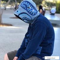 moda çini ceketleri toptan satış-18FW APE INDIGO SHARK Ceket Çin Tarzı Tang Ceket Erkekler Moda Ceket Hip Hop Fermuar Ceket HFLSWY225