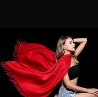 pañuelos rojos lisos al por mayor-Diseñador Damas Llanura Cachemira Imitación Borla Bufanda Mujeres Bufandas Largas Pashmina Mantón Blanco Rosa Rojo Púrpura 27 Color Para Regalo Venta A0011