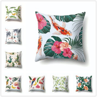 Wholesale cushion cover bird tree resale online - Tropical Cushion Cover Trees Cactus Birds Parrot Print Decorative Pillowcase Home Fresh Decor for Sofa Car Seat Polyester Covers