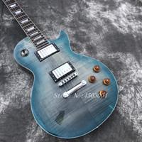 explosión de caoba al por mayor-Guitarra eléctrica Blue Burst les tiger Flame Maple Top paul, guitarra de caoba sólida, guitarra eléctrica de diapasón de palisandro