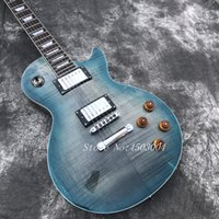 guitarras de arce flameadas al por mayor-Guitarra eléctrica Blue Burst les tiger Flame Maple Top paul, guitarra de caoba sólida, guitarra eléctrica de diapasón de palisandro