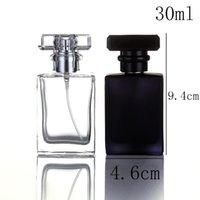 garrafas de perfume atomizador de cristal venda por atacado-30 ml 30cc alta qualidade frasco de perfume de vidro atomizador frasco de perfume transparente preto frasco de spray de cristal quadrado transparente