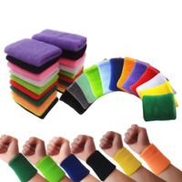 muñequeras al por mayor-Las muñequeras de algodón de calidad evitan la sudoración de bandas de muñequeras de color sólido Bandas de sudor Unisex Sweat Band para el deporte Tenis