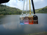 Wholesale car charger aroma diffuser for sale - Group buy Colorful Cube Car Perfume Bottle Hanging Rearview Ornament Air Freshener For Essential Oils Diffuser Fragrance Empty Glass Bottle Pendant