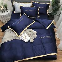 quilts tröster sets großhandel-Heimtextilien Bettwäsche-Sets Erwachsenenbettwäschesatz Bett Weiß Schwarz Bettbezug König Queen Size Bettbezug Kurze Bettwäsche Tröster